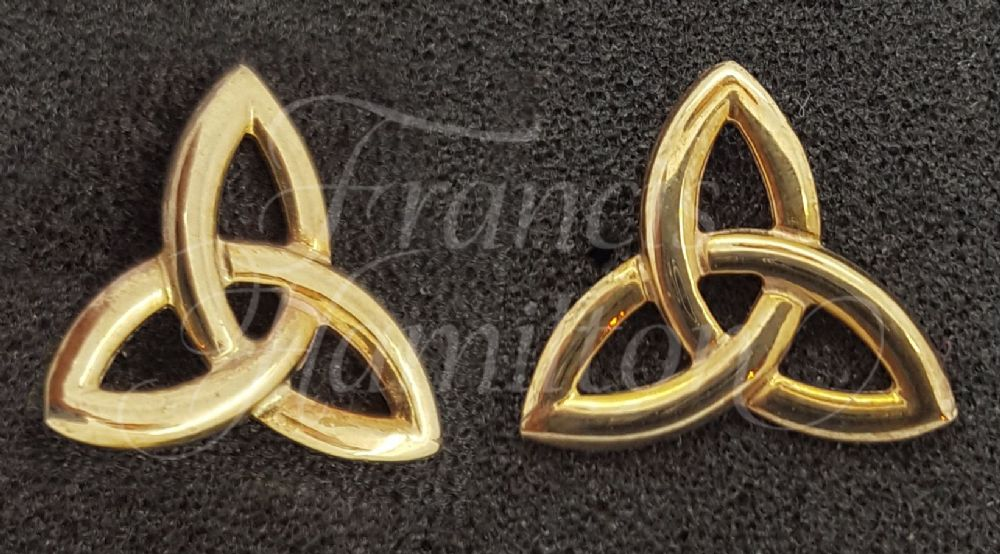 Ladies Triquetra Stud Earrings 9ct Gold Fine Quality - Francis hamilton England